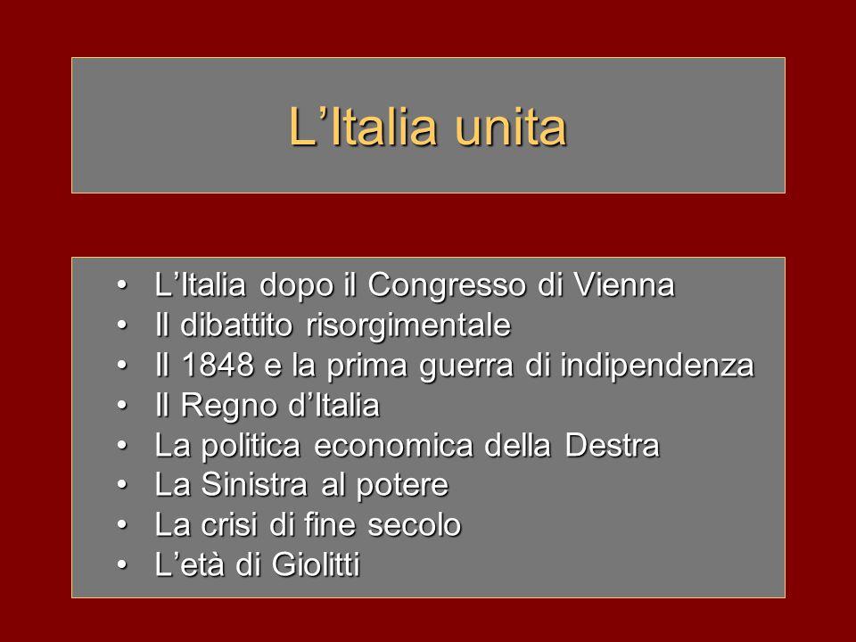 L'Italia nel 1815 Mancata unità nazionale egemonia austriaca restaurazione dei sovrani legittimi, eccetto: –Venezia –Parma ritorno dell'assolutismo sopravvivenza, in alcuni stati, delle riforme napoleoniche