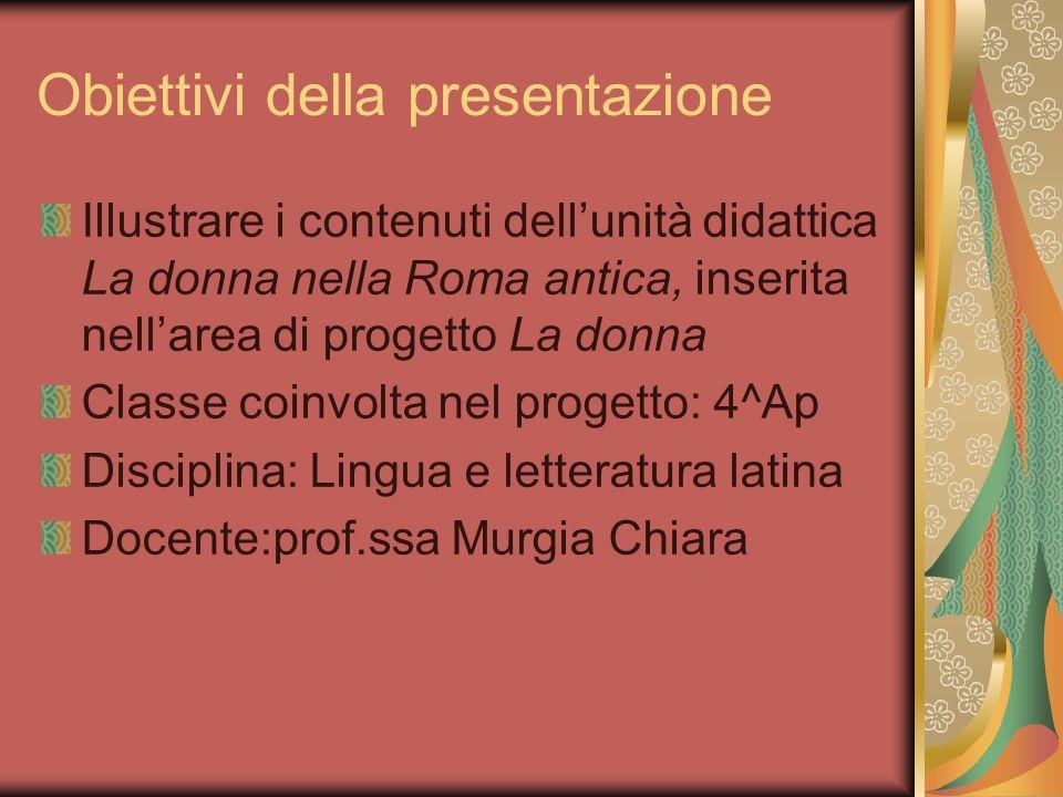 Obiettivi della presentazione Illustrare i contenuti dell'unità didattica La donna nella Roma antica, inserita nell'area di progetto La donna Classe c
