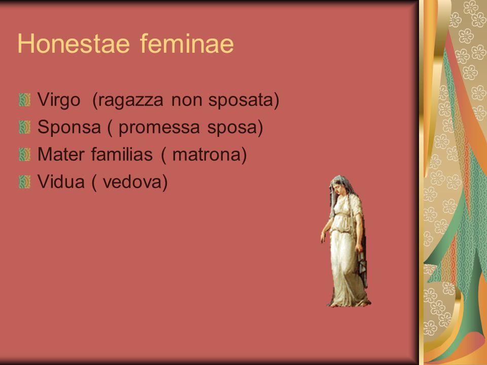 Probrosae feminae Nubilis probrosa ( nubile vergognosa) Uxor adultera(moglie adultera) Meretrix( prostituta)