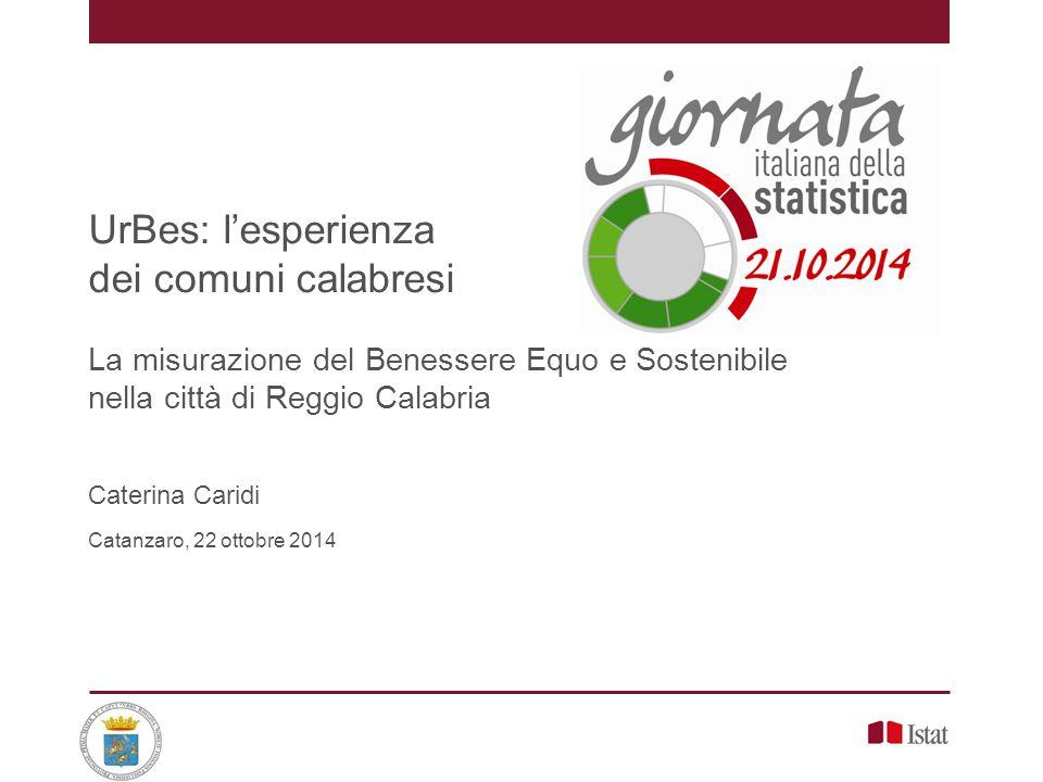 UrBes: l'esperienza dei comuni calabresi La misurazione del Benessere Equo e Sostenibile nella città di Reggio Calabria Caterina Caridi Catanzaro, 22