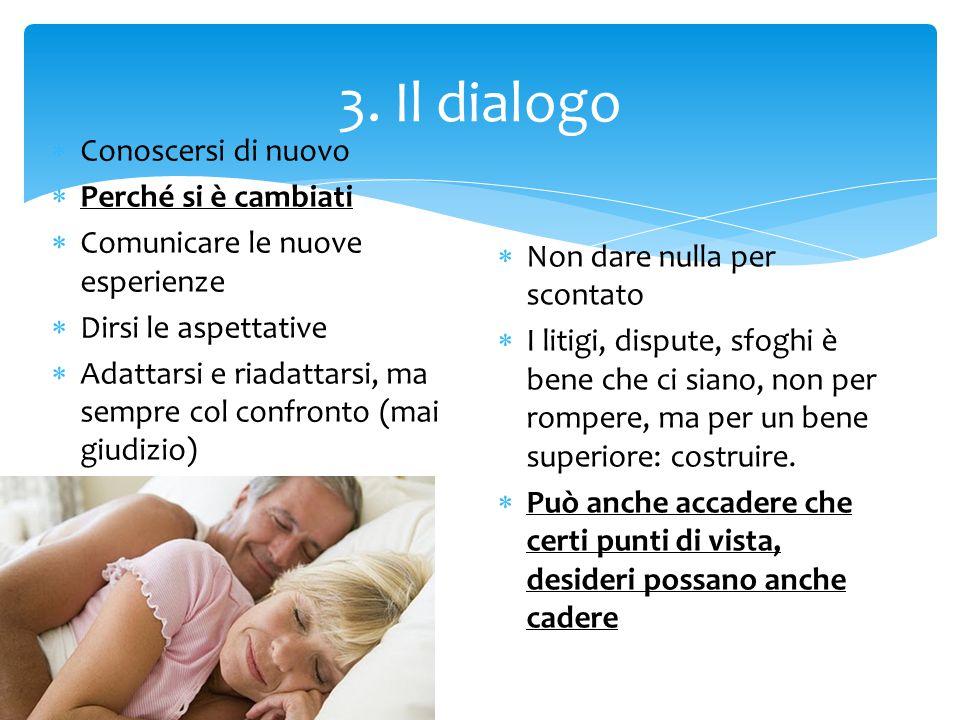 3. Il dialogo  Conoscersi di nuovo  Perché si è cambiati  Comunicare le nuove esperienze  Dirsi le aspettative  Adattarsi e riadattarsi, ma sempr
