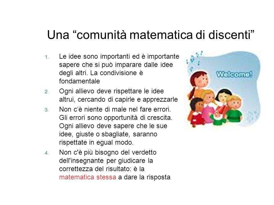 """Una """"comunità matematica di discenti"""" 1. Le idee sono importanti ed è importante sapere che si può imparare dalle idee degli altri. La condivisione è"""
