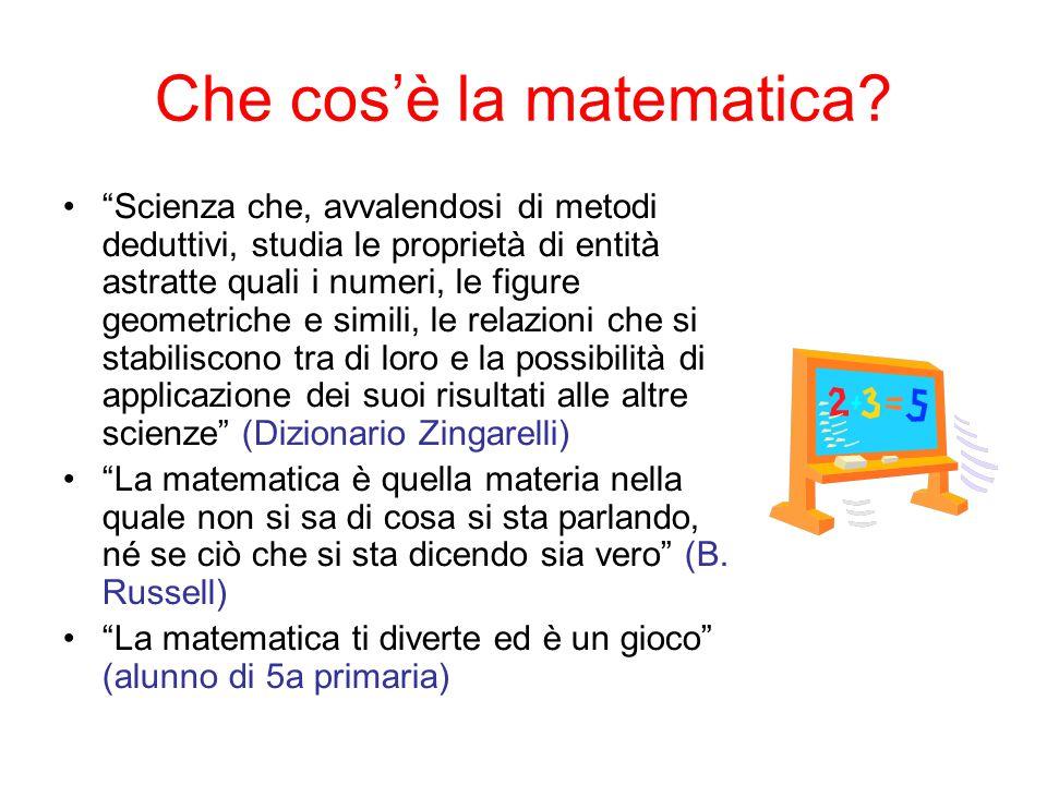 """Che cos'è la matematica? """"Scienza che, avvalendosi di metodi deduttivi, studia le proprietà di entità astratte quali i numeri, le figure geometriche e"""