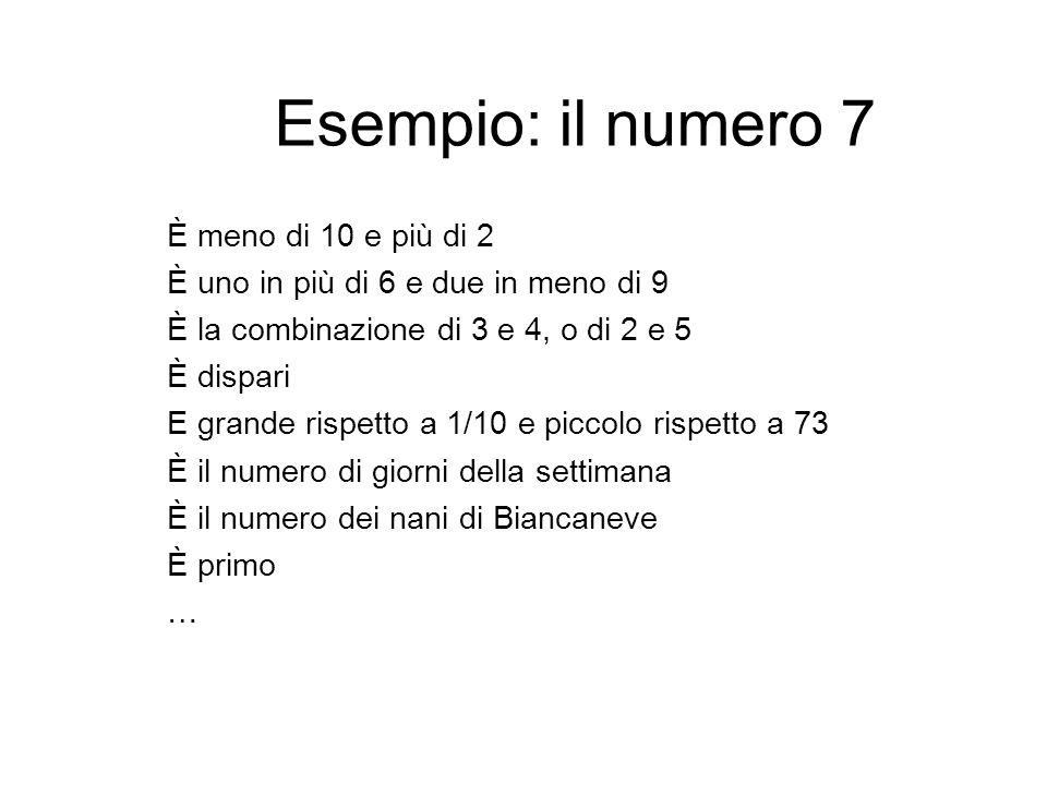 Esempio: il numero 7 È meno di 10 e più di 2 È uno in più di 6 e due in meno di 9 È la combinazione di 3 e 4, o di 2 e 5 È dispari E grande rispetto a