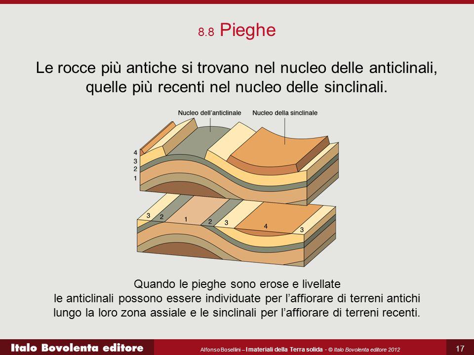 Alfonso Bosellini – I materiali della Terra solida - © Italo Bovolenta editore 2012 17 8.8 Pieghe Le rocce più antiche si trovano nel nucleo delle ant