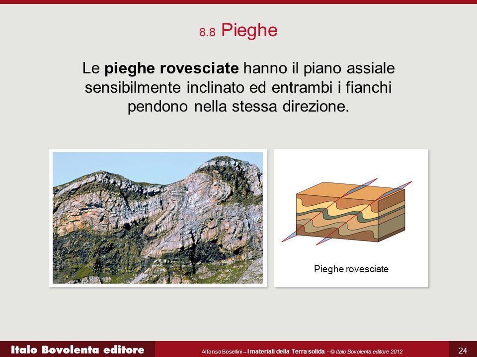 Alfonso Bosellini – I materiali della Terra solida - © Italo Bovolenta editore 2012 24 8.8 Pieghe Le pieghe rovesciate hanno il piano assiale sensibil