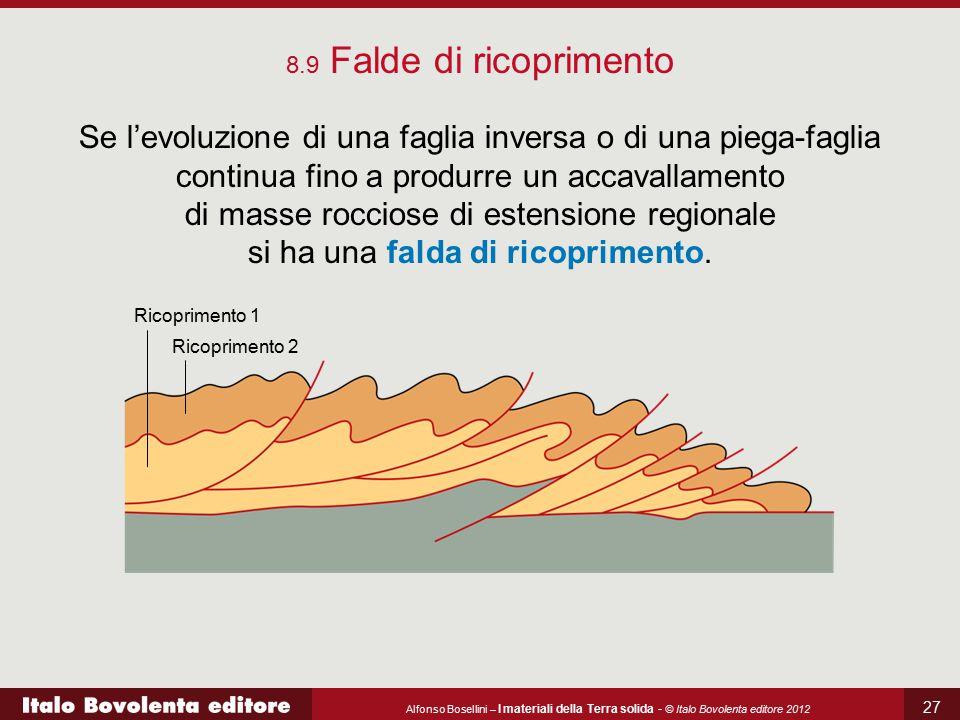 Alfonso Bosellini – I materiali della Terra solida - © Italo Bovolenta editore 2012 27 8.9 Falde di ricoprimento Se l'evoluzione di una faglia inversa