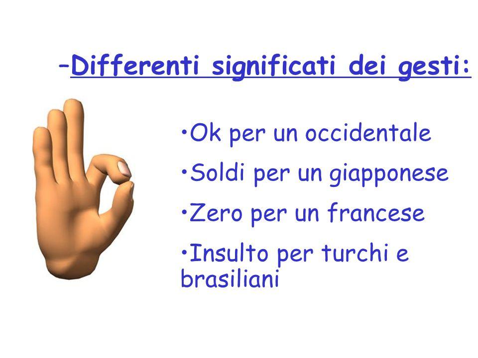 –Differenti significati dei gesti: Ok per un occidentale Soldi per un giapponese Zero per un francese Insulto per turchi e brasiliani