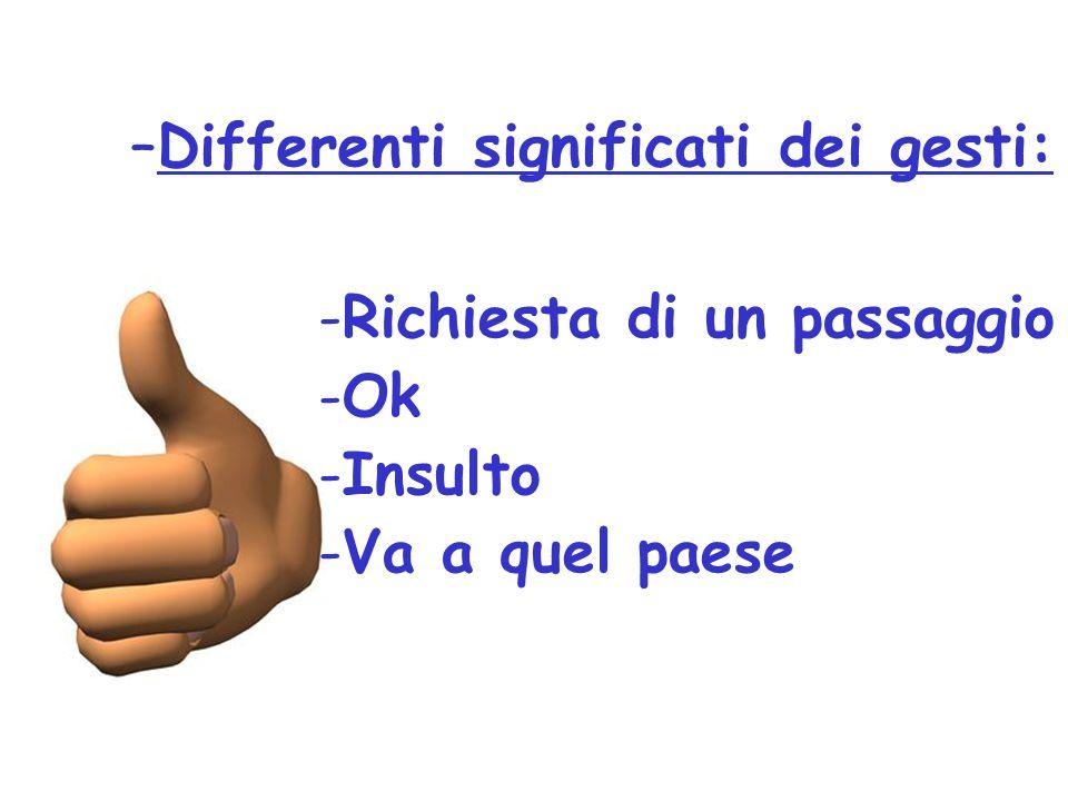 –Differenti significati dei gesti: -Richiesta di un passaggio -Ok -Insulto -Va a quel paese