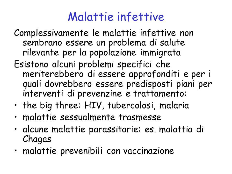 Malattie infettive Complessivamente le malattie infettive non sembrano essere un problema di salute rilevante per la popolazione immigrata Esistono al