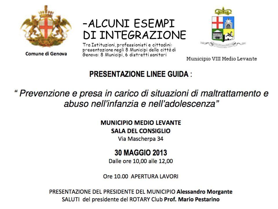 –ALCUNI ESEMPI DI INTEGRAZIONE Tra Istituzioni, professionisti e cittadini: presentazione negli 8 Municipi della città di Genova: 8 Municipi, 6 distre