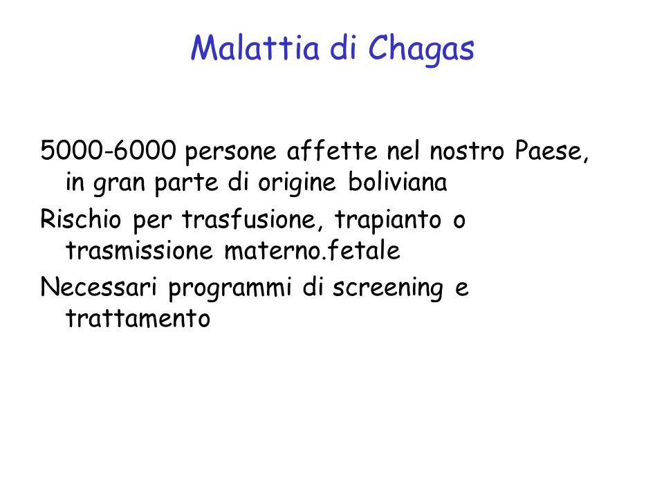 Malattia di Chagas 5000-6000 persone affette nel nostro Paese, in gran parte di origine boliviana Rischio per trasfusione, trapianto o trasmissione materno.fetale Necessari programmi di screening e trattamento