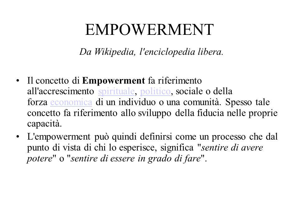 EMPOWERMENT Da Wikipedia, l'enciclopedia libera. Il concetto di Empowerment fa riferimento all'accrescimento spirituale, politico, sociale o della for