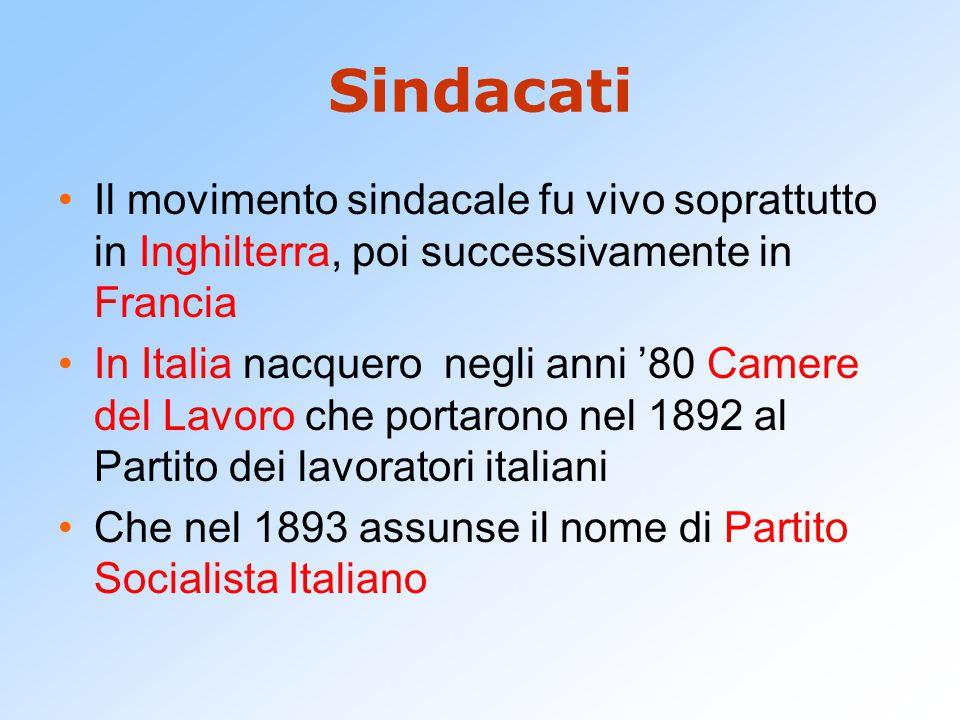 Sindacati Il movimento sindacale fu vivo soprattutto in Inghilterra, poi successivamente in Francia In Italia nacquero negli anni '80 Camere del Lavor