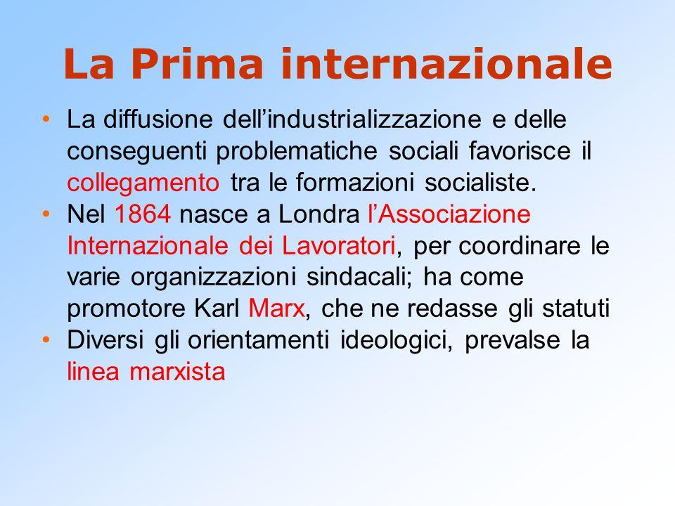 La Prima internazionale La diffusione dell'industrializzazione e delle conseguenti problematiche sociali favorisce il collegamento tra le formazioni s