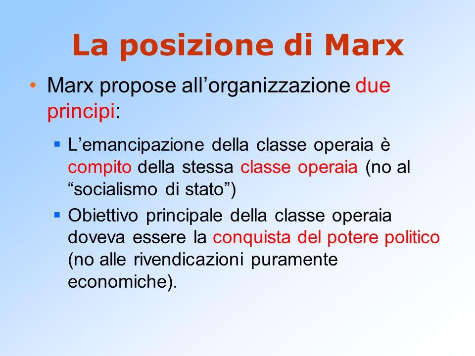 La posizione di Marx Marx propose all'organizzazione due principi:  L'emancipazione della classe operaia è compito della stessa classe operaia (no al