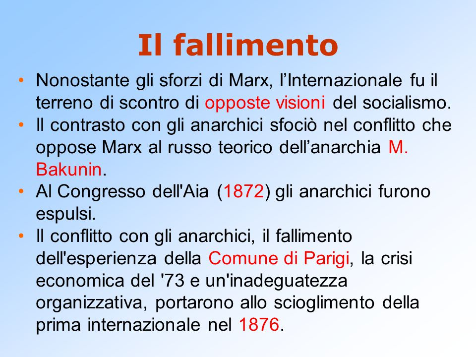 Il fallimento Nonostante gli sforzi di Marx, l'Internazionale fu il terreno di scontro di opposte visioni del socialismo. Il contrasto con gli anarchi