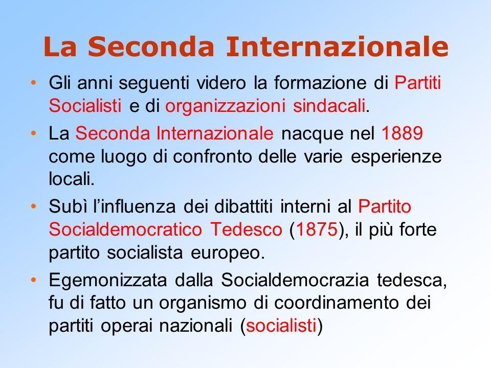 La Seconda Internazionale Gli anni seguenti videro la formazione di Partiti Socialisti e di organizzazioni sindacali. La Seconda Internazionale nacque