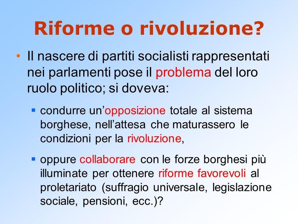 Riforme o rivoluzione? Il nascere di partiti socialisti rappresentati nei parlamenti pose il problema del loro ruolo politico; si doveva:  condurre u