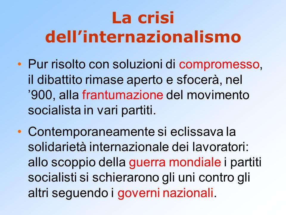 La crisi dell'internazionalismo Pur risolto con soluzioni di compromesso, il dibattito rimase aperto e sfocerà, nel '900, alla frantumazione del movim