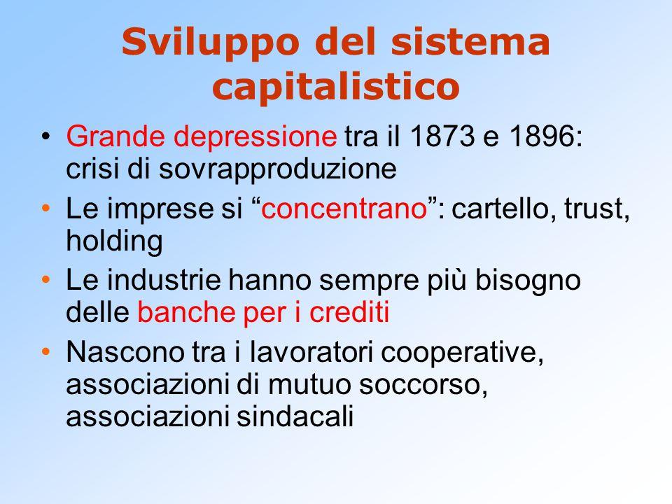 """Sviluppo del sistema capitalistico Grande depressione tra il 1873 e 1896: crisi di sovrapproduzione Le imprese si """"concentrano"""": cartello, trust, hold"""