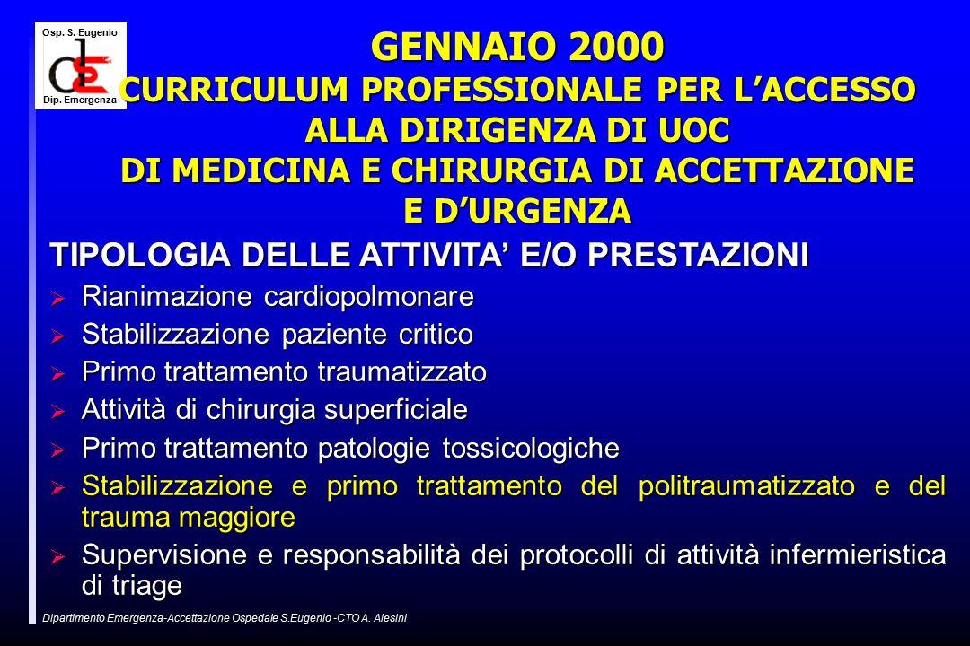 Osp. S. Eugenio Dip. Emergenza Dipartimento Emergenza-Accettazione Ospedale S.Eugenio -CTO A.
