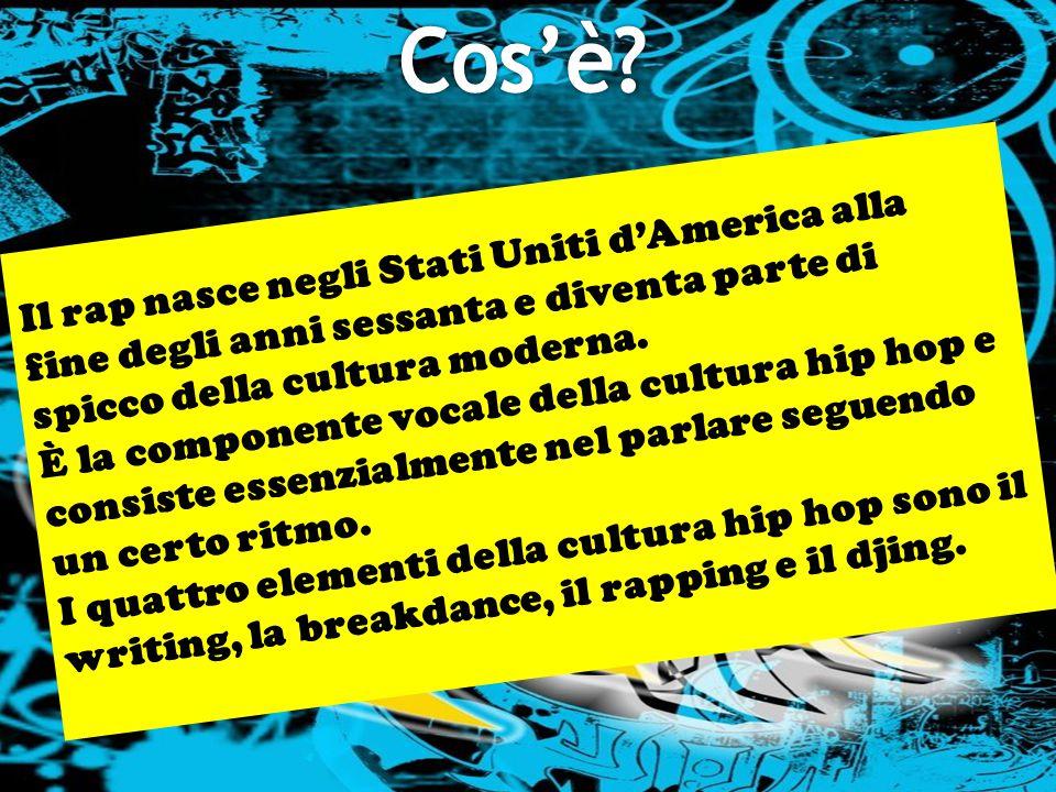Il rap nasce negli Stati Uniti d'America alla fine degli anni sessanta e diventa parte di spicco della cultura moderna. È la componente vocale della c
