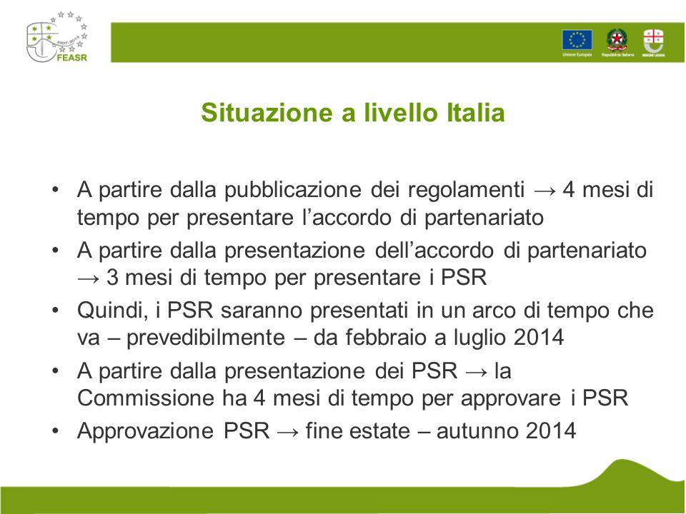 Situazione a livello Italia A partire dalla pubblicazione dei regolamenti → 4 mesi di tempo per presentare l'accordo di partenariato A partire dalla p