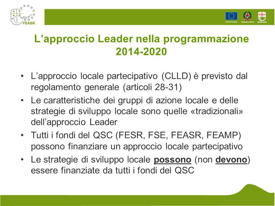 L'approccio Leader nella programmazione 2014-2020 Anche nel regolamento FEASR è previsto (come sempre) l'approccio Leader (articoli 42 – 45) La definizione di approccio Leader nell'ambito del regolamento FEASR è esplicitamente «aggiuntiva» rispetto a quanto stabilito dal regolamento generale Almeno il 5% della partecipazione del FEASR deve essere destinata all'approccio Leader (attualmente in Liguria è circa il 17%)