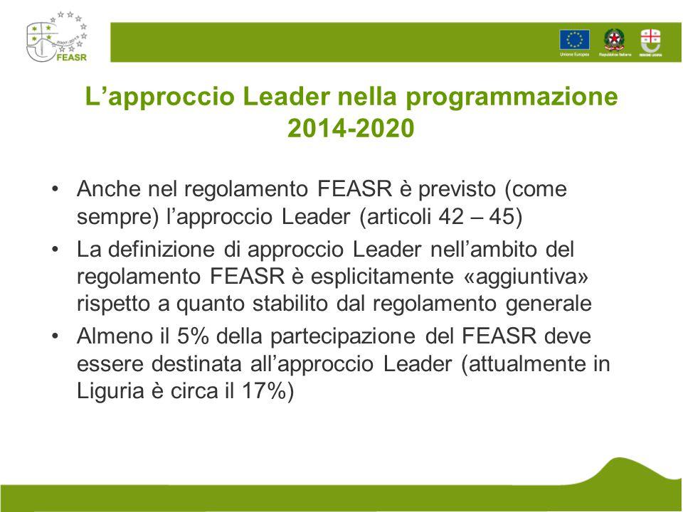 L'approccio Leader nella programmazione 2014-2020 Anche nel regolamento FEASR è previsto (come sempre) l'approccio Leader (articoli 42 – 45) La defini