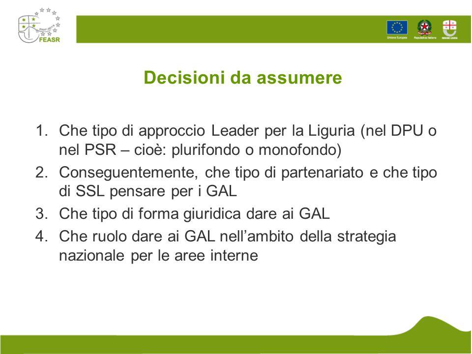 Decisioni da assumere 1.Che tipo di approccio Leader per la Liguria (nel DPU o nel PSR – cioè: plurifondo o monofondo) 2.Conseguentemente, che tipo di