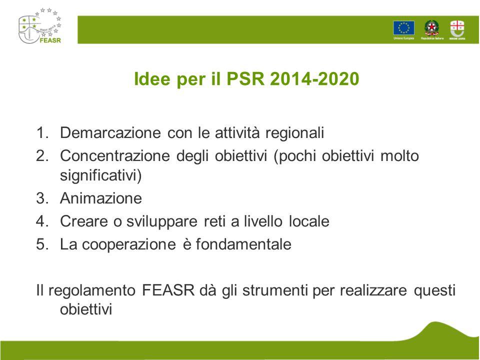 Idee per il PSR 2014-2020 1.Demarcazione con le attività regionali 2.Concentrazione degli obiettivi (pochi obiettivi molto significativi) 3.Animazione
