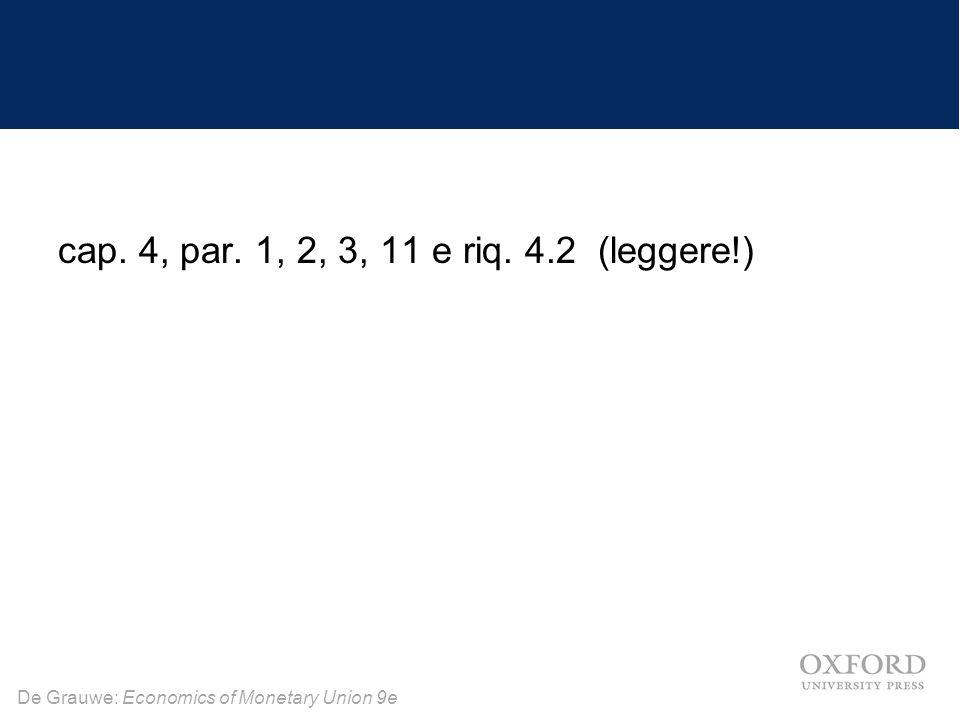 De Grauwe: Economics of Monetary Union 9e cap. 4, par. 1, 2, 3, 11 e riq. 4.2 (leggere!)