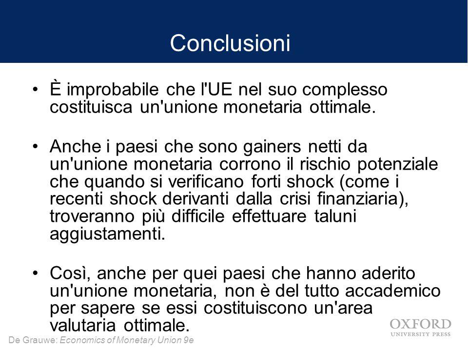 De Grauwe: Economics of Monetary Union 9e Conclusioni È improbabile che l'UE nel suo complesso costituisca un'unione monetaria ottimale. Anche i paesi