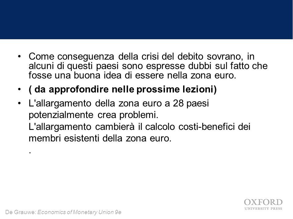 De Grauwe: Economics of Monetary Union 9e Come conseguenza della crisi del debito sovrano, in alcuni di questi paesi sono espresse dubbi sul fatto che