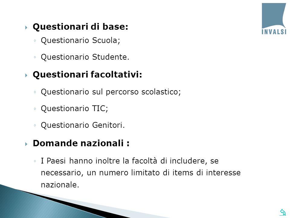   Questionari di base: ◦Questionario Scuola; ◦Questionario Studente.  Questionari facoltativi: ◦Questionario sul percorso scolastico; ◦Questionario