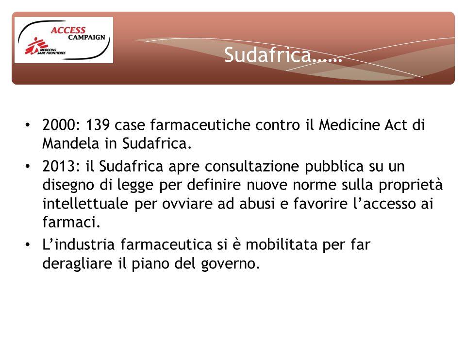 Sudafrica…… 2000: 139 case farmaceutiche contro il Medicine Act di Mandela in Sudafrica.
