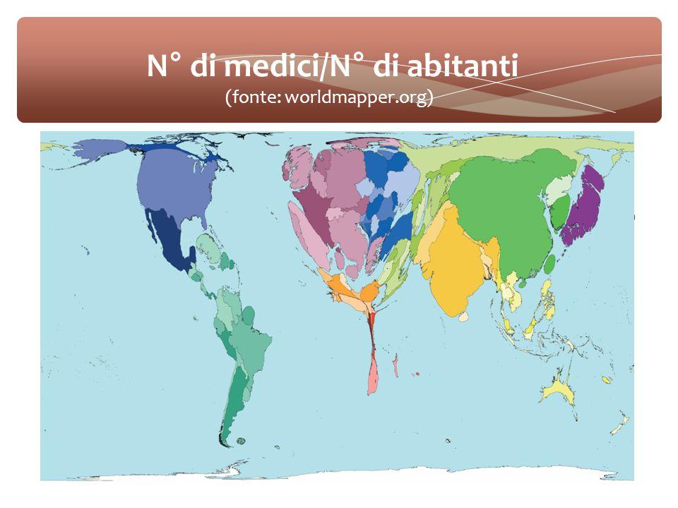  Qui mettere un po' di cifre sullo stato dell'arte dello squilibrio mondiale: dati generali, mappe di world mapper N° di medici/N° di abitanti (fonte: worldmapper.org)