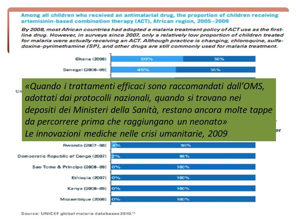 «Quando i trattamenti efficaci sono raccomandati dall'OMS, adottati dai protocolli nazionali, quando si trovano nei depositi dei Ministeri della Sanità, restano ancora molte tappe da percorrere prima che raggiungano un neonato» Le innovazioni mediche nelle crisi umanitarie, 2009