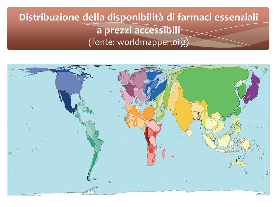 Distribuzione della disponibilità di farmaci essenziali a prezzi accessibili (fonte: worldmapper.org)