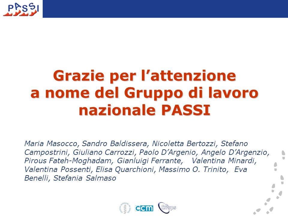 Grazie per l'attenzione a nome del Gruppo di lavoro nazionale PASSI Maria Masocco, Sandro Baldissera, Nicoletta Bertozzi, Stefano Campostrini, Giulian