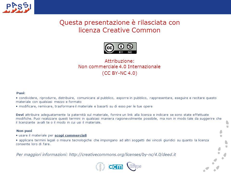 Questa presentazione è rilasciata con licenza Creative Common Attribuzione: Non commerciale 4.0 Internazionale (CC BY-NC 4.0) Puoi: condividere, ripro
