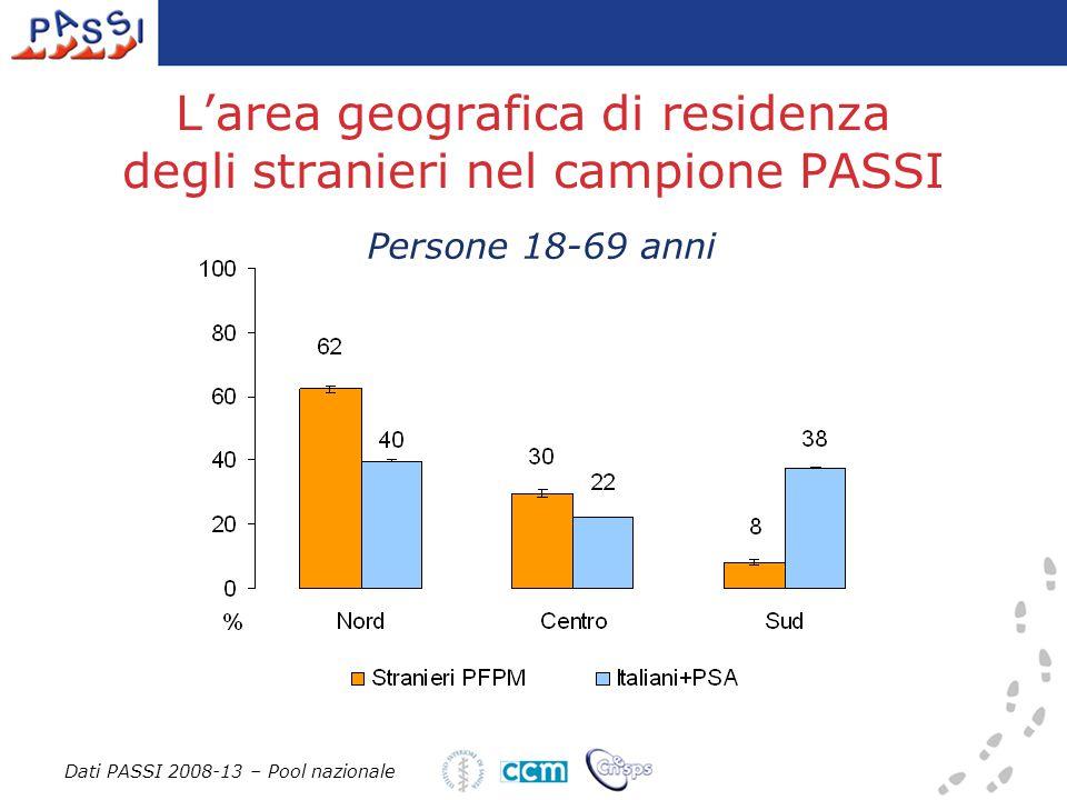 L'area geografica di residenza degli stranieri nel campione PASSI Dati PASSI 2008-13 – Pool nazionale Persone 18-69 anni