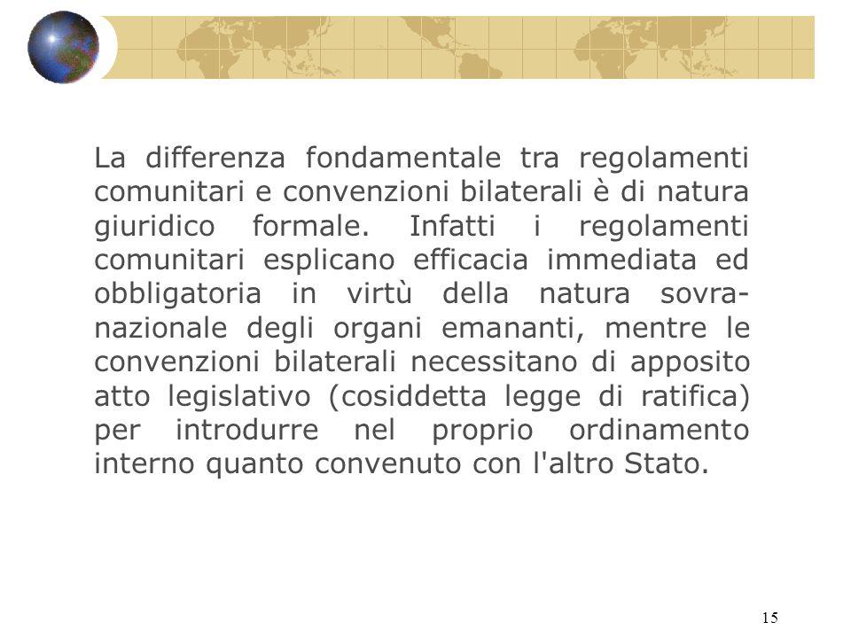 15 La differenza fondamentale tra regolamenti comunitari e convenzioni bilaterali è di natura giuridico formale.