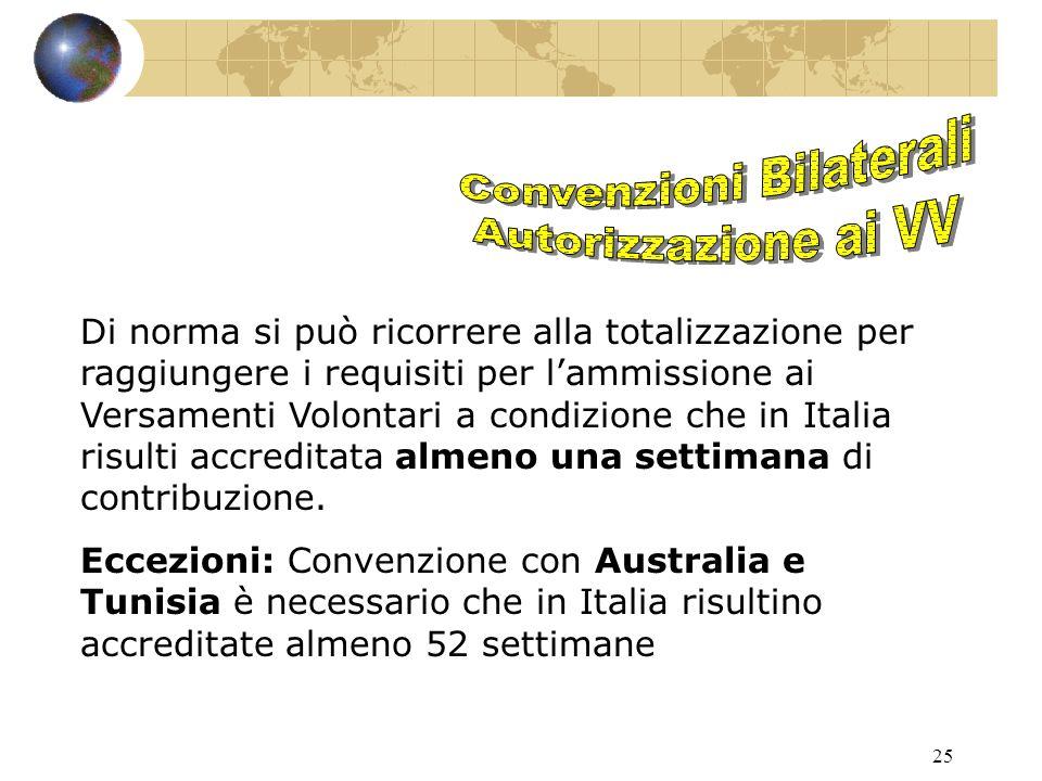 25 Di norma si può ricorrere alla totalizzazione per raggiungere i requisiti per l'ammissione ai Versamenti Volontari a condizione che in Italia risulti accreditata almeno una settimana di contribuzione.