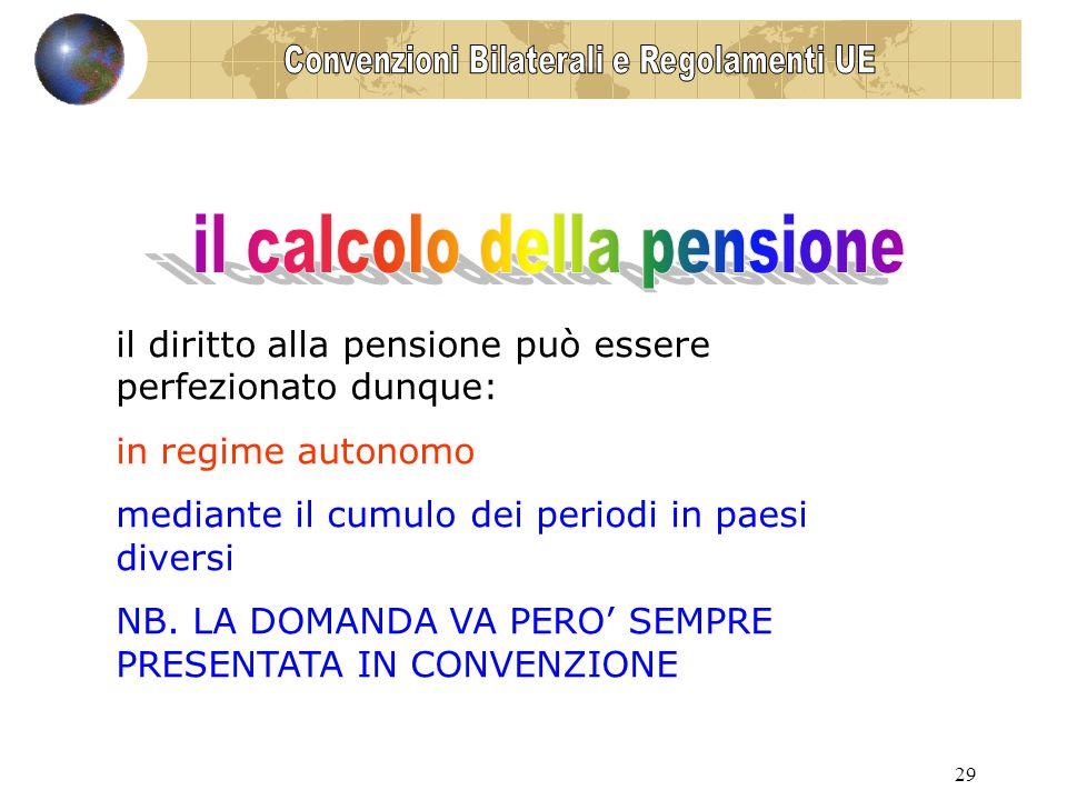 29 il diritto alla pensione può essere perfezionato dunque: in regime autonomo mediante il cumulo dei periodi in paesi diversi NB.