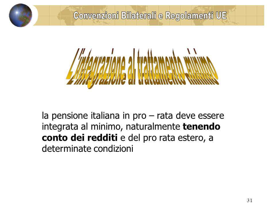 31 la pensione italiana in pro – rata deve essere integrata al minimo, naturalmente tenendo conto dei redditi e del pro rata estero, a determinate condizioni
