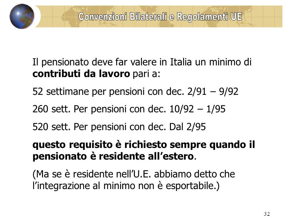 32 Il pensionato deve far valere in Italia un minimo di contributi da lavoro pari a: 52 settimane per pensioni con dec.