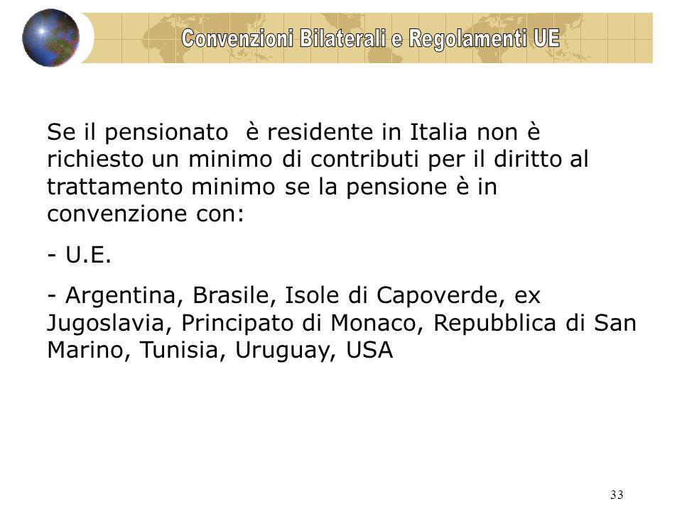 33 Se il pensionato è residente in Italia non è richiesto un minimo di contributi per il diritto al trattamento minimo se la pensione è in convenzione con: - U.E.