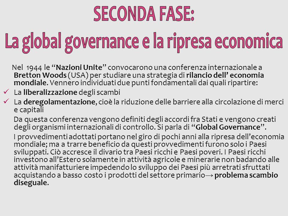 """Nel 1944 le """"Nazioni Unite"""" convocarono una conferenza internazionale a Bretton Woods (USA) per studiare una strategia di rilancio dell' economia mond"""